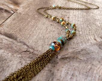Tassel Necklace - Beaded Tassel Necklace - Tassle Necklace - Long Necklace - Turquoise Necklace - Statement Necklace - Boho Necklace