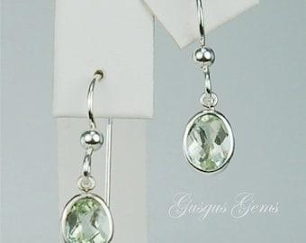 Prasiolite (Green Amethyst) Dangle Earrings Sterling Silver 8x6mm Oval Backset Drops