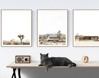 Set of 3  Desert Joshua Tree Modern Prints , Mid century modern wall art, Minimalist art, boho decor,