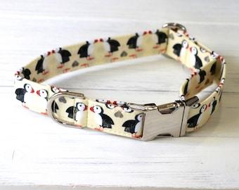 Yellow Puffin Penguin Dog Collar, yellow dog collar, penguin dog collar, puffin penguin, dog collars, girl dog collar, boy dog collar, dogs