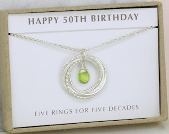 50th birthday gift, August birthstone necklace 50th, peridot necklace for 50th birthday, gift for wife, mom - Lilia