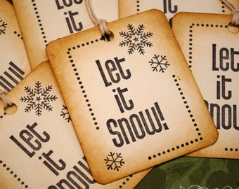 Winter Snowflake Let It Snow Vintage Style Holiday Gift Tags Set of 6