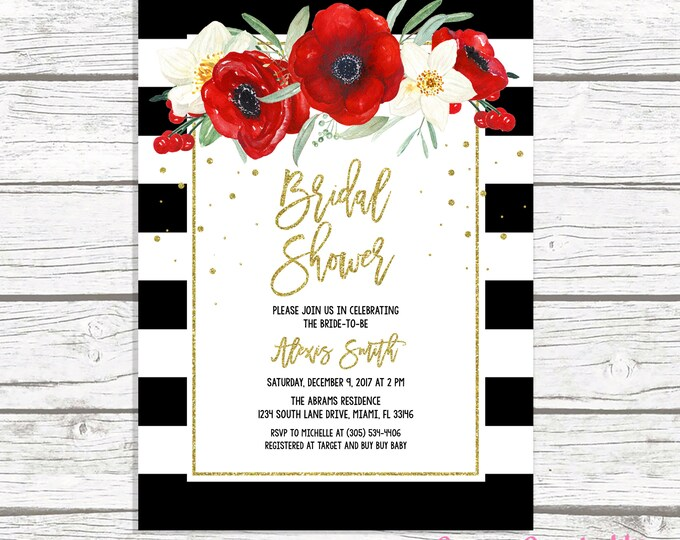 Christmas Bridal Shower Invitation, Black and White Stripe Bridal Shower Invitation, Red Floral Bridal Shower, Christmas Floral Invite