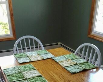 Rag Quilt Placemats - Kitchen Decor - Table Linens - Rustic Placemats - Primitive Placemats - Custom Table Linen - Rag Quilt - Home Decor