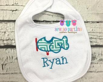 Airplane Bib - Baby Boy Bib - monogrammed bib - baby boy gift - Personalized Bib - baby boy personalized bib - airplane bib