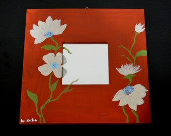 Hand painted Wooden Mirror Flowers