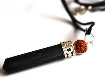 Black Tourmaline & Rudraksha Bead Pendant Necklace Natural Crystal