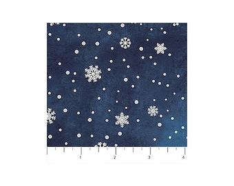O Christmas Tree~Small Snowflakes/Navy Cotton Fabric By Northcott