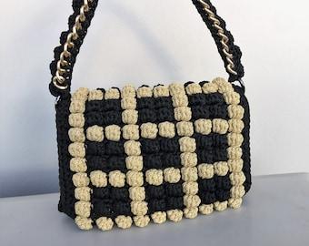 Bag, Crochet bag, Luxury handbag, Handbags, Walnuts collection, Egst,  Handmade, Designer handbag, Black Gold,  Fashion bag, Made in Greece