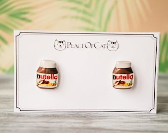 nutella lover , nutella jewelry , kids earrings , little girl earrings , kids jewelry , chocolate lover gift , chocolate gift