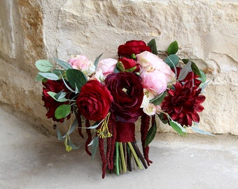 Red and Burgundy Bouquet | Silk Flower Keepsake Wedding Bouquet | Burgundy, Cranberry Red and Blush Pink | SG-1070