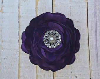 "Purple Flower Clip Purple Hair Flower 3.75"" Ranunculus Rhinestone Hair Clip Wedding Bridesmaid Flower Girl Purple Hair Clip Bridal Sash Pin"