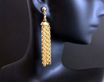 Long Gold Plated Tassel Earrings.  Post Earrings. Fringe Earrings. Gold Earrings.  E195