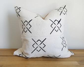 Authentische Baum Kissen, Jahrgang Mali Bogolan, weiß, Creme, schwarz, Kreuz, X, Diamant, geometrische