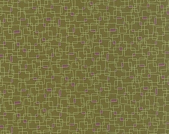 40% OFF SALE - PRINTS Charming Geometric Boxes in Dark Olive  17846-15 - Moda Fabrics  - By the Yard