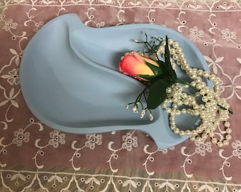 Vintage Blue Wooden Shabby Chic Sectional Tray Handpainted Vanity Decor Jewelry Catch All Tray Boudoir Decor