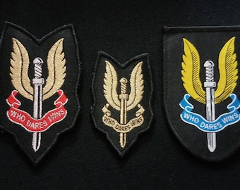 Set 3 different SAS Who Dares Wins Jump Airborn Wings Woven Patches