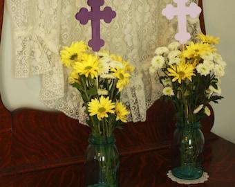Cross Centerpiece, Baby Dedication, Baptism, First Communion, Confirmation - set of 5