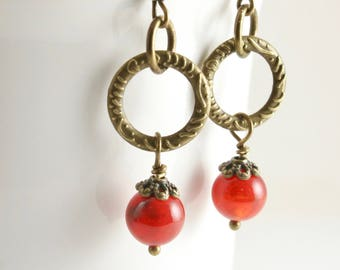 Cirkel van Fire Agate Earrings, antieke koperen en oranje Agate Earrings, Agate Dangle Earrings, rode Agaat Oorbellen