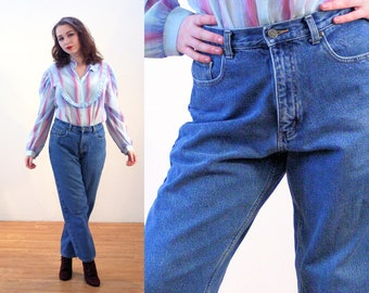 90s Eddie Bauer Jeans 10 Petite, Flannel Lined Retro Mom Jeans, High Waisted Cotton Denim Medium Wash Blue Jeans, 28 X 27