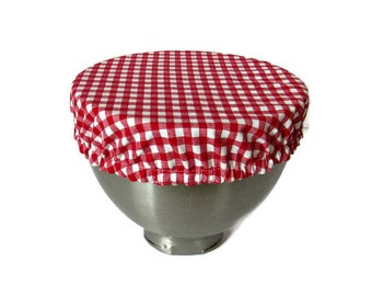 """Reusable Eco-friendly Fabric Bowl Covers-Red and White plaid.  Fits 2.5 L bowl, 10"""" bowl/plate, Kitchen-aid bowl.  Cotton fabrics."""