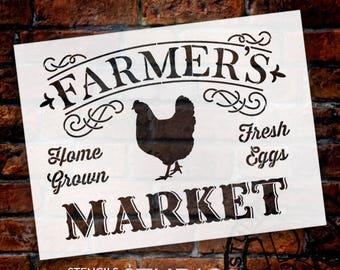 Farmer's Market - Word Art Stencil - Select Size - STCL1971 - by StudioR12