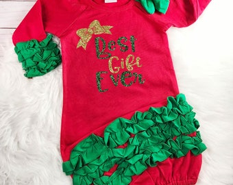 Best Gift Ever Outfit Baby Girl Christmas Outfit Baby's First Christmas Newborn Baby Shower Gift Christmas Gown Monogram Newborn Gown