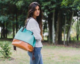 Aqua Ledertasche, bunten Hobotasche, zwei-Ton Ledertasche, Oversize Tasche, große Hobo Handtasche, Premium-Leder-Taschen, Frauen-Leder-Einkaufstasche