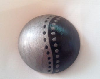Handpainted silver and black - 22 002 cabochon