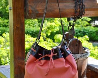 Orange Leather Bucket Bag, Leather Shoulder Bag, Leather Drawstring Bag, Woman Leather Bag, Everyday Leather Bag, Leather-Fabric Bucket Bag