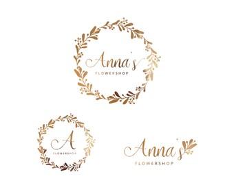 Premade logo Floral logo Floral wreath Flowers logo Branding kit Wedding & Photography logo Gold logo Feminine logo Wedding planner logo
