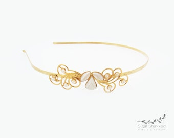 Gold Headband, Bridal Headband, Bridal Headpiece, Wedding Headpiece, Bridesmaid Headband, Wedding Headband, Gold Crown. Bridesmaid Headpiece