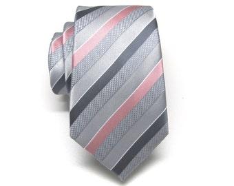 Mens Ties. Silver Gray Dusty Rose Pink Stripe Neckties.  Wedding Neckties. Groomsmen's Ties
