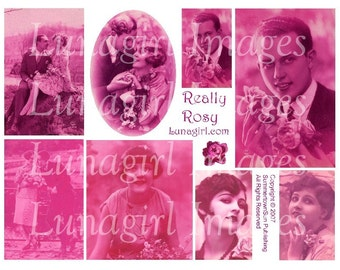 PINK TINTED Flapper Photos, digital collage sheet, romantic couples women dapper man, 1920s French postcards, altered art ephemera DOWNLOAD
