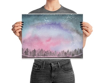 Water Color Print, Watercolor Painting, Galaxy Painting, Night Sky, Galaxy Print, Stars, Starry Night, Watercolor Print, Night Sky Print