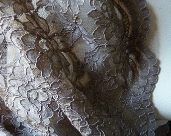 SALE Mink Mocha Lace Alencon Lace for Bridal, Mother of the Bride, Gowns, Skirts, Costumes