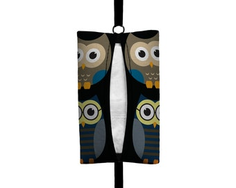 Auto Sneeze - Owls - Visor Tissue Case/Cozy - Car Accessory Automobile - Midnight Blue Black