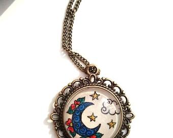 Moon & Stars Necklace Celestial Art Floral Design Henna Mehndi Vintage Style Hand Drawn Handmade Jewelry Lasting Love Symbolism