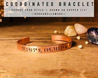 CUSTOM COORDINATES Bracelet Hand Stamped Bracelet GPS Coordinates Bracelet Personalized Christmas gift for women, Custom gift ideas