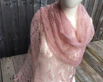 Fine knit scarf hand made light pink Christmas gift