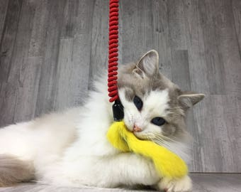 Cat toy | Dyed rabbit fur cat teaser toy on a elastic string | Fur cat toy | Teaser cat toy | Strong cat toy | Interactive cat toy