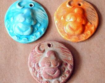 3 Handmade Ceramic Beads - Moon Goddess Pendants - Stoneware Goddess beads in Summer Colors - Earth Mother Venus in rust, orange and aqua