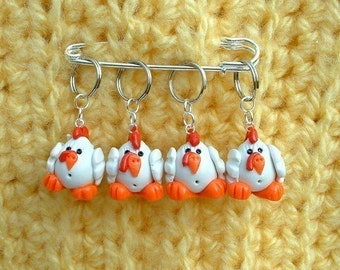 Chickens knitting or crochet stitch markers - Set of 4 - Polymer Clay