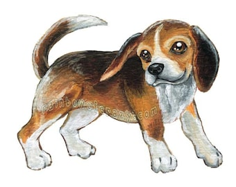 Beagle Print, Dog Art, Pet Portrait, Nursery Wall Art, Animal Lover, Bedroom Decor, Memorial Gift Idea for Dog Owner, Pet Loss