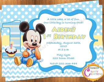 Baby mickey invite Etsy