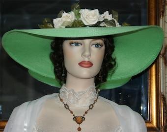 Kentucky Derby Hat Ascot Edwardian Tea Hat Titanic Hat Southern Belle Hat Downton Abbey Women's Green Hat Ivory - Mint Julep