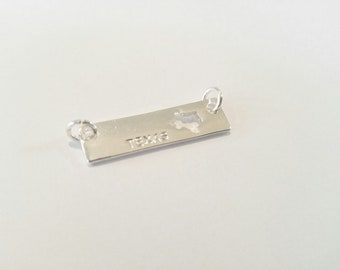 Texas Pendant Silver Bar Pendant Connector with Jump Rings Stamped Texas Charm Bar Charm Necklace Connector Link 1""