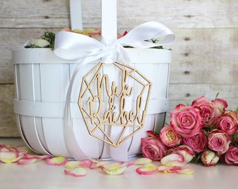 Personalized Geometric Wedding Flower Girl Basket Tag | Custom Name | Marzipan Collection