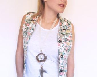 Bohemian necklace, tassel necklace, geometric necklace, wood necklace, boho necklace, lace, summer necklace, unique necklace, girlfriend