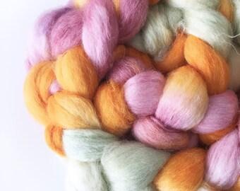 Superfine Alpaca Roving . Hand Dyed . Hand Painted . 100% Combed Alpaca Roving  . OOAK . Spinning Supply . 4oz . Aqua . Orange . Gold . Pink